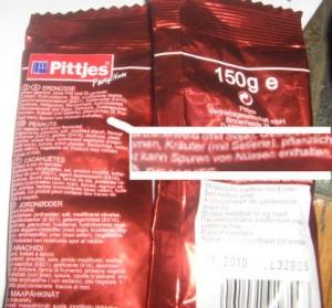 Pittjes Erdnüsse: Kann Spuren von Nüssen enthalten.