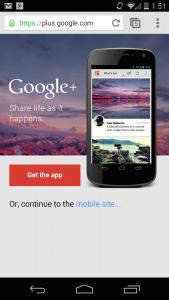 Google Plus Interstitial