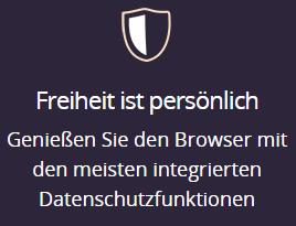 """""""Genießen Sie den Browser mit den meisten integrierten Datenschutzfunktionen"""" (Quelle: https://www.mozilla.org/de/firefox/new/)"""