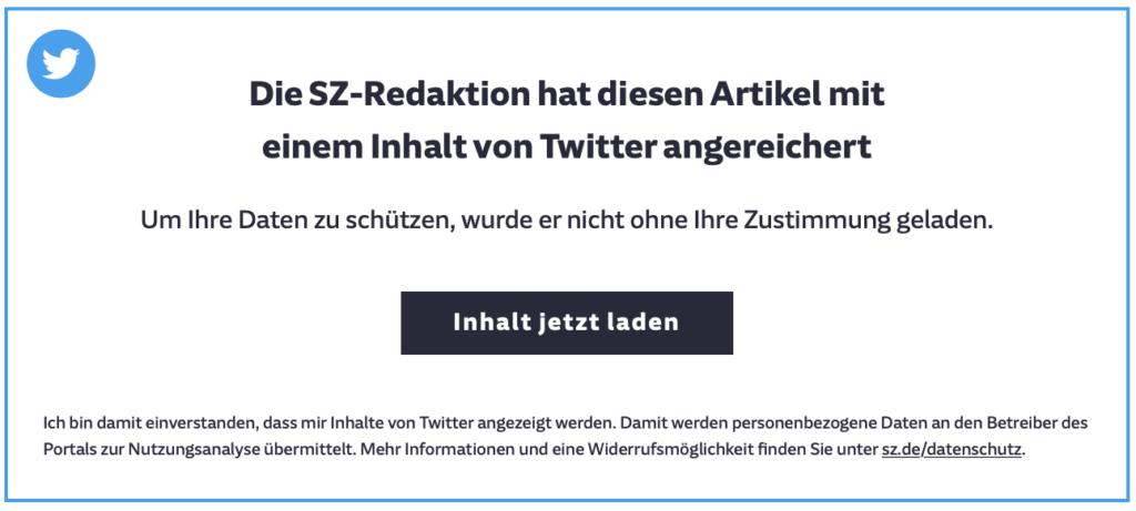 Die SZ-Redaktion hat diesen Artikel mit einem Inhalt von Twitter angereichert. Um Ihre Daten zu schützen, wurde er nicht ohne Ihre Zustimmung geladen.
