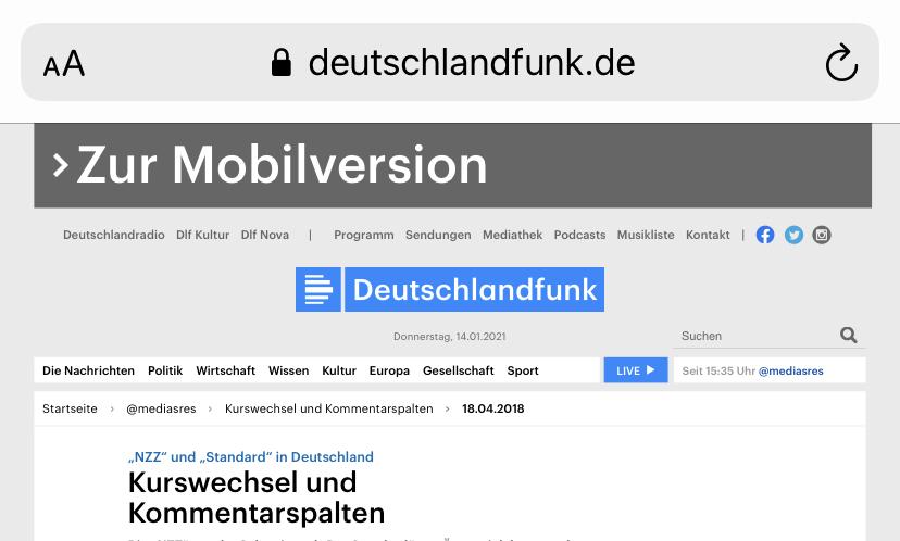 """Screenshot von Deutschlandfunk.de, unlesbar winziger Text, darüber ein anklickbarer Banner """"Zur Mobilversion"""""""