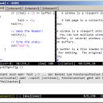 Vim: Drei offene Dateien im aktuellen Tab, drei weitere Tabs geöffnet. Macht das mal mit eurem Editor!