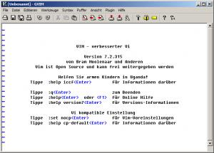 GVim auf Deutsch: Noch nicht hübsch, aber es funktioniert schon.